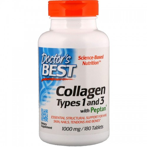Best Collagen Types 1 and 3 with Peptan 1,000 mg Doctor's Best 180 tabs