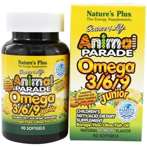 Жирні кислоти для дітей Nature's Plus Animal Parade Omega 3/6/9 Junior 90 Softgels