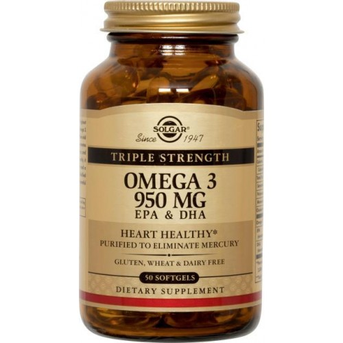 Triple Stength Omega-3 950 mg Solgar 50 Softgels