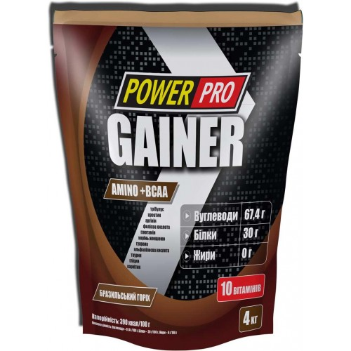 Гейнер Power Pro Gainer Amino+BCAA 4000 г Бразильський Горіх
