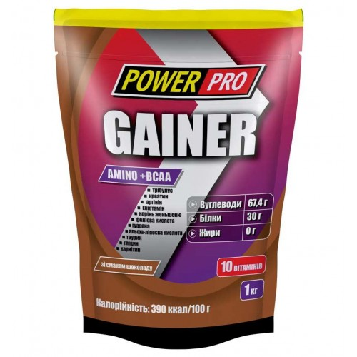Гейнер Power Pro Gainer Amino+BCAA 1000 г Шоколад