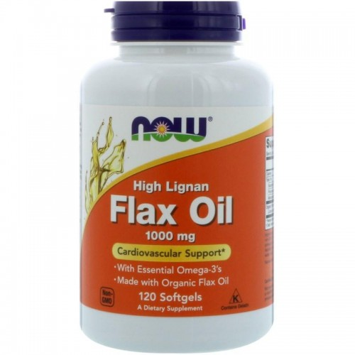 High Lignan Flax Oil NOW Foods 120 Softgels