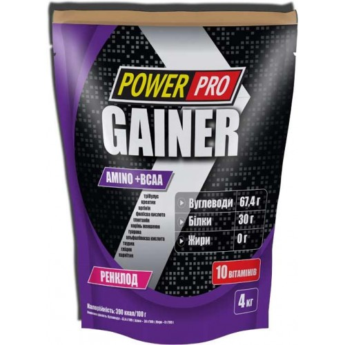 Гейнер Power Pro Gainer Amino+BCAA 4000 г Ренклод